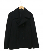 LITHIUM HOMME(リチウムオム・ファム)の古着「HEAVY MELTON SHORT PEA COAT」|ブラック