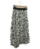 Mila Owen(ミラオーウェン)の古着「アシンメトリーロングスカート」|ホワイト×ブラック