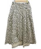VERMEIL par iena(ヴェルメイユ パーイエナ)の古着「レオパードプリントタックフレアスカート」|ベージュ