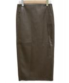 Plage(プラージュ)の古着「フェイクレザータイトスカート」 ブラウン