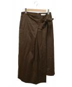 Demi-Luxe BEAMS(デミルクスビームス)の古着「ウールサテン タックスカート」 ブラウン