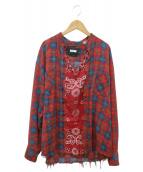 OLD PARK(オールドパーク)の古着「リメイクプルオーバーシャツ」|レッド
