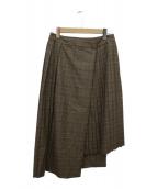 JOURNAL STANDARD(ジャーナルスタンダード)の古着「チェック ムジ プリーツラップスカート」|ブラウン