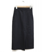 TOMORROW LAND(トゥモローランド)の古着「ウールサキソニー サイドスリットスカート」|ネイビー