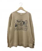 VOTE MAKE NEW CLOTHES(ヴォートメイクニュークローズ)の古着「PEANUTSプリントスウェット」|ベージュ