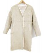 ROPE(ロペ)の古着「ティペット付きリバーシブルフェイクムートンコート」|ベージュ