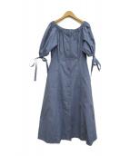LE CIEL BLEU(ルシェルブルー)の古着「タフタパフスリーブワンピース」|ブルー