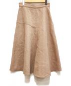 DES PRES(デプレ)の古着「アンゴラシャギー アシンメトリーフレアスカート」|ブラウン