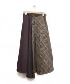 sophila(ソフィラ)の古着「チェックロングスカート」|ネイビー×ブラウン