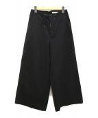 GALERIE VIE(ギャルリーヴィー)の古着「コットンシルクワイドパンツ」|ブラック