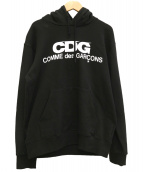 CDG COMME des GARCONS(シーディージーコムデギャルソン)の古着「LOGO HOODED SWEATSHIRT」|ブラック