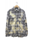 SURT×BIG JOHN(サート×ビッグジョン)の古着「ブリーチ加工チェックシャツ」|グレー