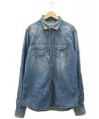 DIESEL(ディーゼル)の古着「ダメージ加工デニムシャツ」|インディゴ