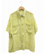 ()の古着「ゼブラプリントハーフスリーブシャツ」|イエロー