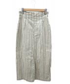 GALERIE VIE(ギャルリーヴィー)の古着「コットンリネンストレッチ Iラインスカート」|ベージュ
