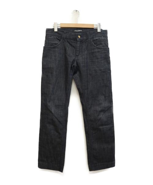 DOLCE & GABBANA(ドルチェ&ガッバーナ)DOLCE & GABBANA (ドルチェアンドガッバーナ) メタルプレートデニムパンツ インディゴ サイズ:46 14 CLASSICの古着・服飾アイテム