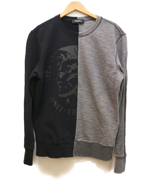 DIESEL(ディーゼル)DIESEL (ディーゼル) 切替スウェット グレー×ブラック サイズ:Mの古着・服飾アイテム