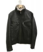 BURBERRY BLACK LABEL(バーバリーブラックレーベル)の古着「中綿ラムレザージャケット」|ブラック