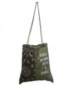 manipuri(マニプリ)の古着「ミリタリープリントトートバッグ」 カーキ×ブラウン