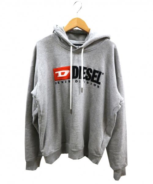DIESEL(ディーゼル)DIESEL (ディーゼル) ロゴプルオーバーパーカー グレー サイズ:XSの古着・服飾アイテム