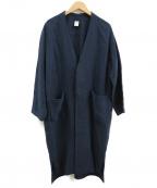 NO CONTROL AIR(ノーコントロールエアー)の古着「強撚ボイルリネンノーカラーコート」|ネイビー