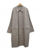 AURALEE(オーラリー)の古着「ウェザークロスチェックステンカラーコート」|ベージュ