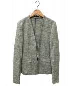 icB(アイシービー)の古着「ノーカラージャケット」|ホワイト×ブラック