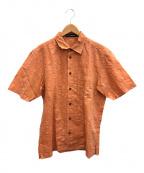 ISSEY MIYAKE MEN(イッセイミヤケメン)の古着「シワ加工半袖シャツ」|オレンジ
