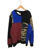 DIESEL(ディーゼル)の古着「パッチワークスウェット」|ブラック
