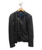 FACTOTUM JEANS(ファクトタムジーンズ)の古着「ゴートスキンレザーライダース」|ブラック