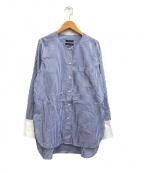 NOMBRE IMPAIR(ノンブルアンペール)の古着「ストライプ ノーカラーロングシャツ」 ブルー