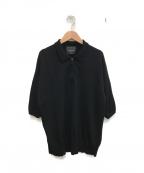 ROBERTO COLLINA(ロベルトコリーナ)の古着「ハーフジップ半袖ポロニット」 ブラック
