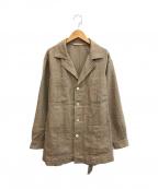 CARUSO(カルーゾ)の古着「コットンリネンベルテッドジャケット」|ベージュ