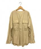 UNFIL(アンフィル)の古着「コットンギャバジンクルタシャツ」|ベージュ