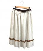 自由区(ジユウク)の古着「レイヤードットプリントプリーツスカート」|ホワイト×ブラウン