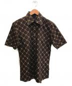 BURBERRY BLACK LABEL()の古着「総柄半袖シャツ」|ブラウン