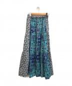 IENA LA BOUCLE(イエナ ラ ブークル)の古着「スカーフプリントブロックスカート」|ブルー
