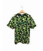 BAPE BY A BATHING APE(ベイプバイアベイシングエイプ)の古着「サルカモ柄Tシャツ」|グリーン