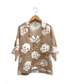 SUNSEA(サンシー)の古着「19SSオープンカラーシャツ」 ベージュ