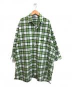 BEAMS BOY×INDIVIDUALIZED SHIRTS(ビームスボーイ×インディビジュアライズドシャツ)の古着「チェックワイドワンピース」|グリーン