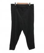 YohjiYamamoto pour homme()の古着「21SS 裾 いってこい シワギャバジン パンツ」|ブラック