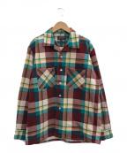 BEAMS PLUS(ビームスプラス)の古着「コーデュロイプリントチェックオープンカラーシャツ」|ブラウン