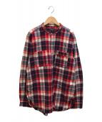 ()の古着「バンドカラーチェックシャツ」 レッド