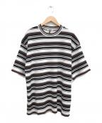 AURALEE(オーラリー)の古着「21SSボーダーニットTシャツ」 ベージュ