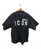 DSQUARED2(ディースクエアード)の古着「ICON半袖オープンカラーシャツ」|ブラック