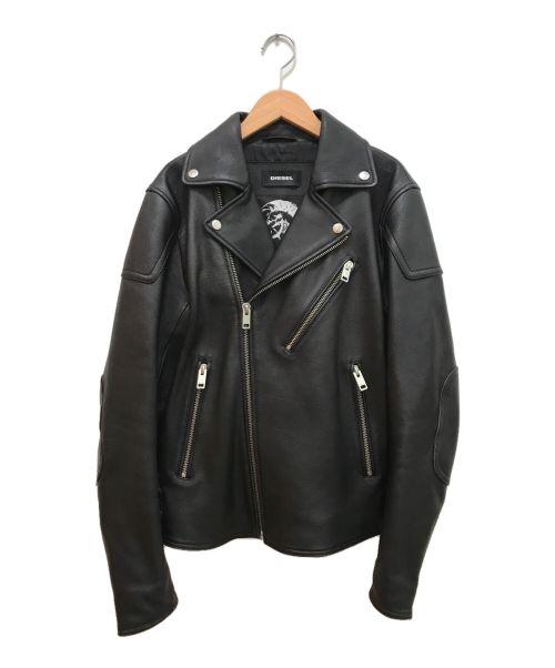 DIESEL(ディーゼル)DIESEL (ディーゼル) ラムレザーダブルライダースジャケット ブラック サイズ:Mの古着・服飾アイテム