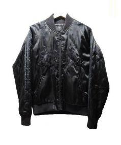 adidas(アディダス)の古着「トレフォイル袖ラインスカジャン」 ブラック