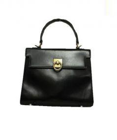tanino crisci(タニノクリスチー)の古着「レザーハンドバッグ」|ブラック