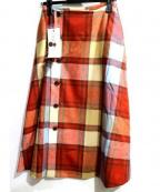 latelier du savon(アトリエドゥサボン)の古着「ブロックチェックラップフレアスカート」|オレンジ