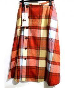 latelier du savon(アトリエ ドゥ サボン)の古着「ブロックチェックラップフレアスカート」|オレンジ